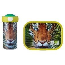 Schoolbeker en Lunchbox Animal Planet Tijger Groen