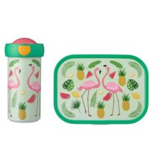Schoolbeker en Lunchbox Tropical Flamingo