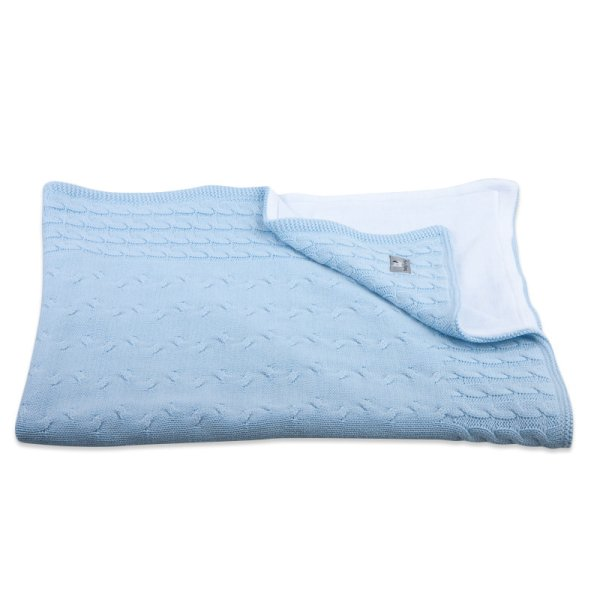 Baby's Only Wiegdeken Chenille Cable Baby Blauw